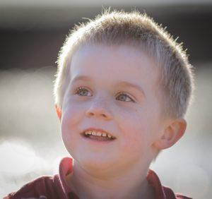 little boy backlit
